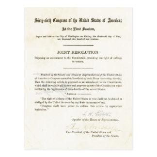 diecinueveavo Enmienda a la constitución de Tarjetas Postales