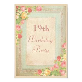 """Diecinueveavo fiesta de cumpleaños de los rosas invitación 5"""" x 7"""""""