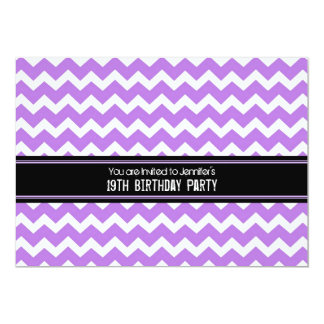 """Diecinueveavo fiesta de cumpleaños negra púrpura invitación 5"""" x 7"""""""