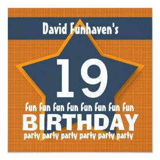 """diecinueveavo Fiesta de cumpleaños o cualquier Invitación 5.25"""" X 5.25"""""""