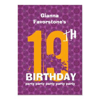 """diecinueveavo Fiesta de cumpleaños resistida Invitación 5"""" X 7"""""""