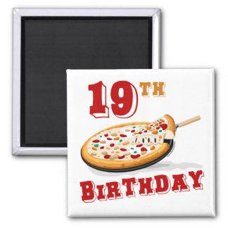diecinueveavo Fiesta de la pizza del cumpleaños Imán Cuadrado