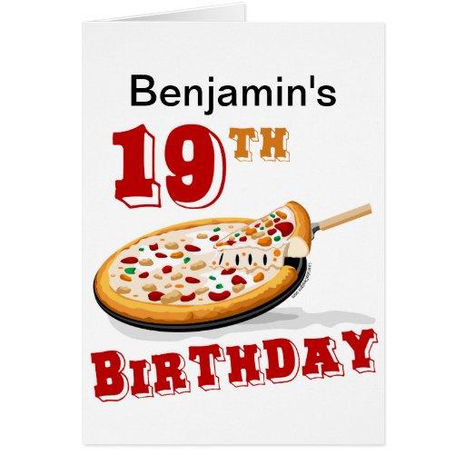 diecinueveavo Fiesta de la pizza del cumpleaños Tarjeta De Felicitación
