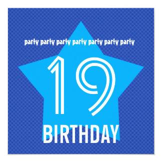 """diecinueveavo La fiesta de cumpleaños invita a Invitación 5.25"""" X 5.25"""""""