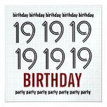 diecinueveavo La fiesta de cumpleaños invita al Invitación 13,3 Cm X 13,3cm