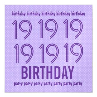"""diecinueveavo La fiesta de cumpleaños invita al Invitación 5.25"""" X 5.25"""""""