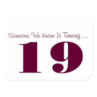"""diecinueveavo La fiesta de cumpleaños invita, Invitación 5"""" X 7"""""""