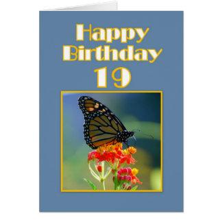 Diecinueveavo mariposa de monarca feliz del tarjeta de felicitación