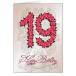 diecinueveavo tarjeta de cumpleaños con los rosas