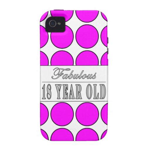 Dieciocho lunares rosados años fabulosos Case-Mate iPhone 4 carcasa