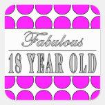 Dieciocho lunares rosados años fabulosos colcomanias cuadradas personalizadas