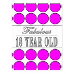 Dieciocho lunares rosados años fabulosos postal
