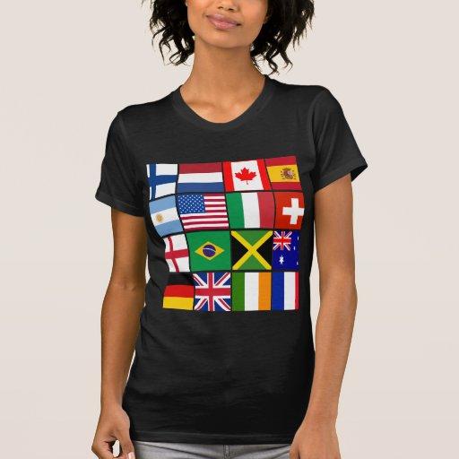 Dieciséis banderas de muchas camisetas de las playera