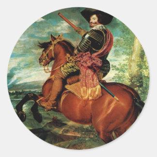Diego Velazquez - Portrait of Gaspar de Guzmán Round Sticker