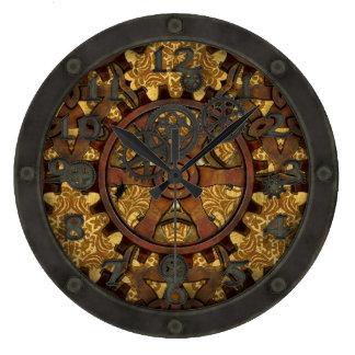 Diente adornado de Steampunk con la cara Reloj Redondo Grande