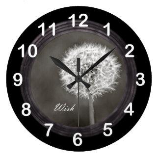 Diente de león inspirado del deseo reloj redondo grande