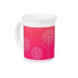 Diente de león rosado en primavera jarras de beber