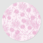 Diente de león rosado suave elegante pegatinas redondas