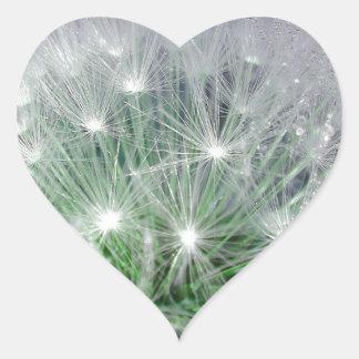 Diente de león verde y blanco fresco con los pegatina corazon personalizadas