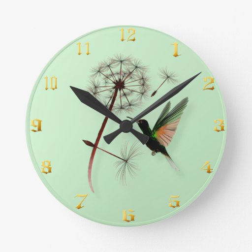 Diente de león y colibrí Wallclock Reloj Redondo Mediano