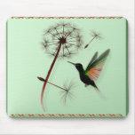 Diente de león y pequeño colibrí verde Mousepad Alfombrilla De Ratones