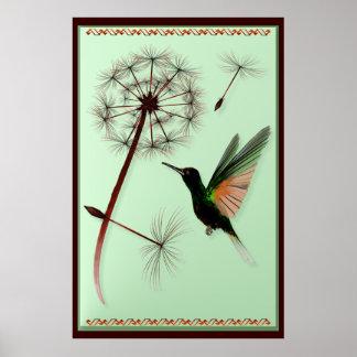 Diente de león y pequeño poster verde del colibrí póster