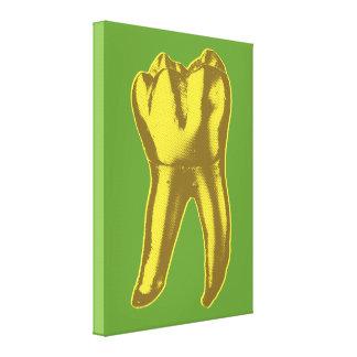 Diente del oro impresión en lona