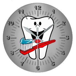 Diente feliz reloj redondo grande