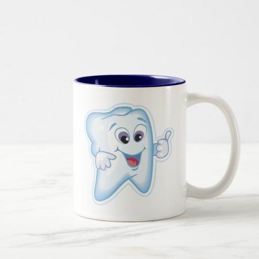 Diente feliz sano tazas de café