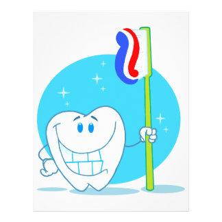 """Diente sonriente feliz con el cepillo de dientes folleto 8.5"""" x 11"""""""