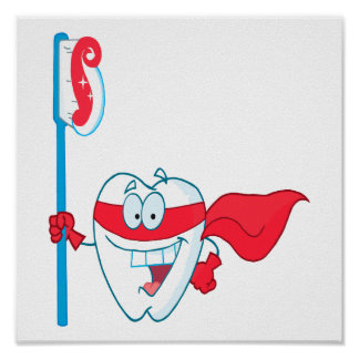 Diente sonriente lindo del super héroe con el cepi posters
