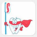 Diente sonriente lindo del super héroe con el calcomanías cuadradass