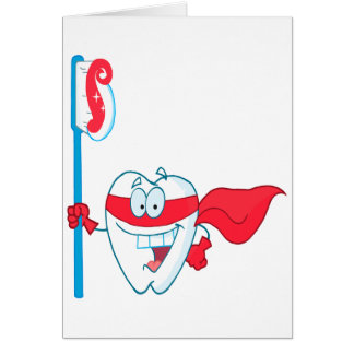 Diente sonriente lindo del super héroe con el tarjeta de felicitación