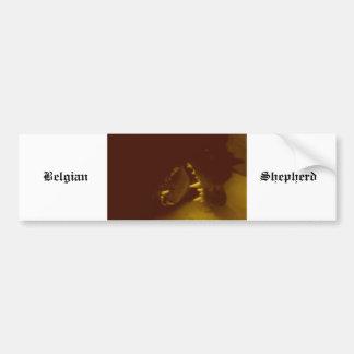 Dientes asombrosos del pastor belga etiqueta de parachoque