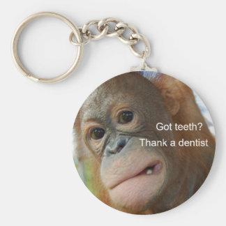 ¿Dientes conseguidos? Agradezca a un dentista Llavero Redondo Tipo Pin
