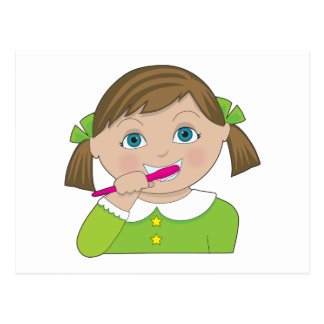 Dientes de cepillado del chica tarjetas postales