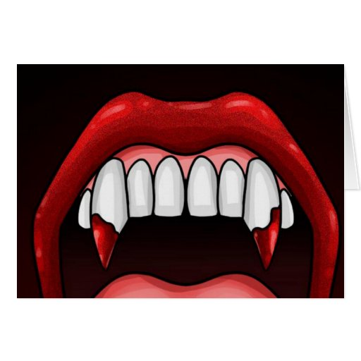 Dientes de Halloween del vampiro Tarjetas