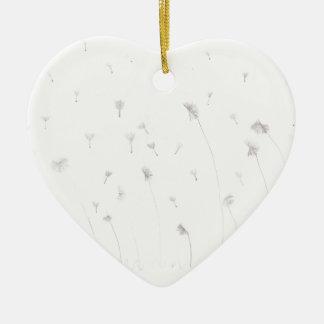 Dientes de león adorno navideño de cerámica en forma de corazón