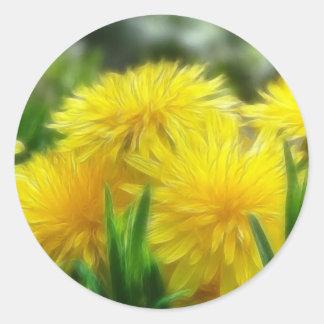 Dientes de león amarillos brillantes pegatina redonda