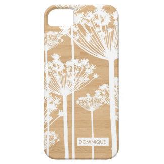 Dientes de león blancos en el caso de madera del funda para iPhone SE/5/5s