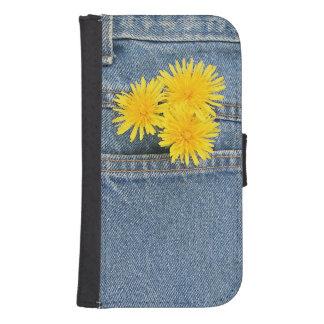 Dientes de león en un bolsillo fundas billetera para teléfono
