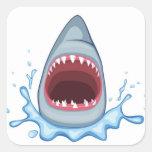 dientes del tiburón del dibujo animado calcomania cuadradas personalizadas