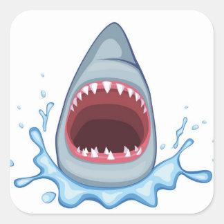 dientes del tiburón del dibujo animado pegatina cuadrada