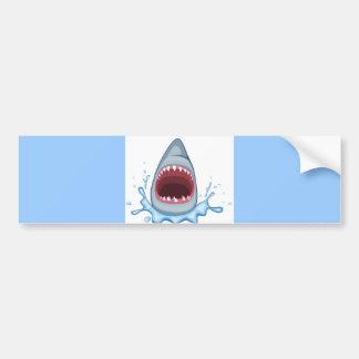 dientes del tiburón del dibujo animado vectorstock etiqueta de parachoque