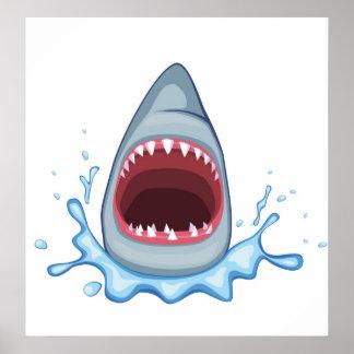 dientes del tiburón del dibujo animado vectorstock posters
