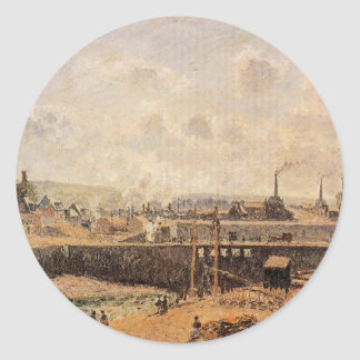 Dieppe, Dunquesne Basin, Low Tide, Sun, Morning Classic Round Sticker