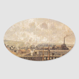 Dieppe, Dunquesne Basin, Low Tide, Sun, Morning Oval Sticker