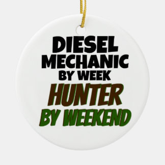 Diesel Mechanic by Week Hunter by Weekend Double-Sided Ceramic Round Christmas Ornament