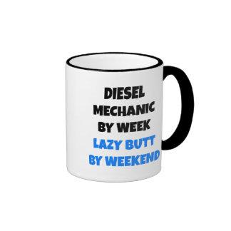Diesel Mechanic by Week Lazy Butt by Weekend Ringer Mug