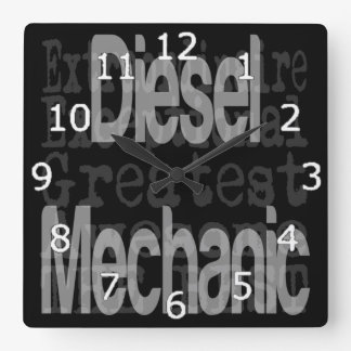 Diesel Mechanic Extraordinaire Square Wall Clocks